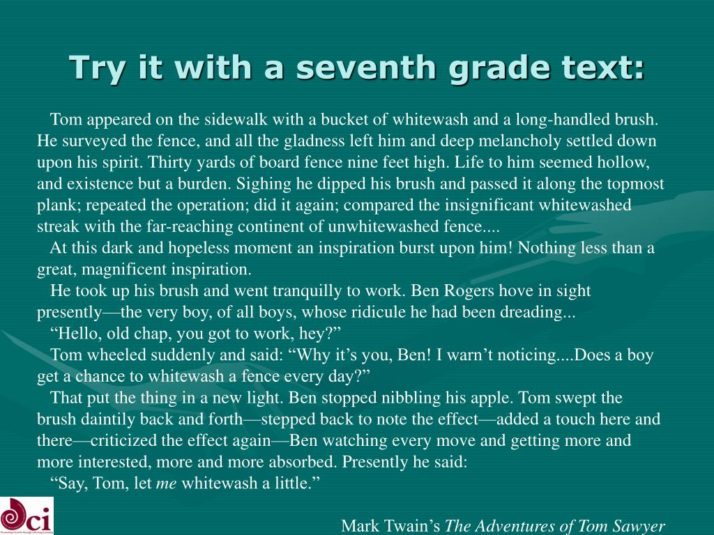 Try it with a seventh grade text: