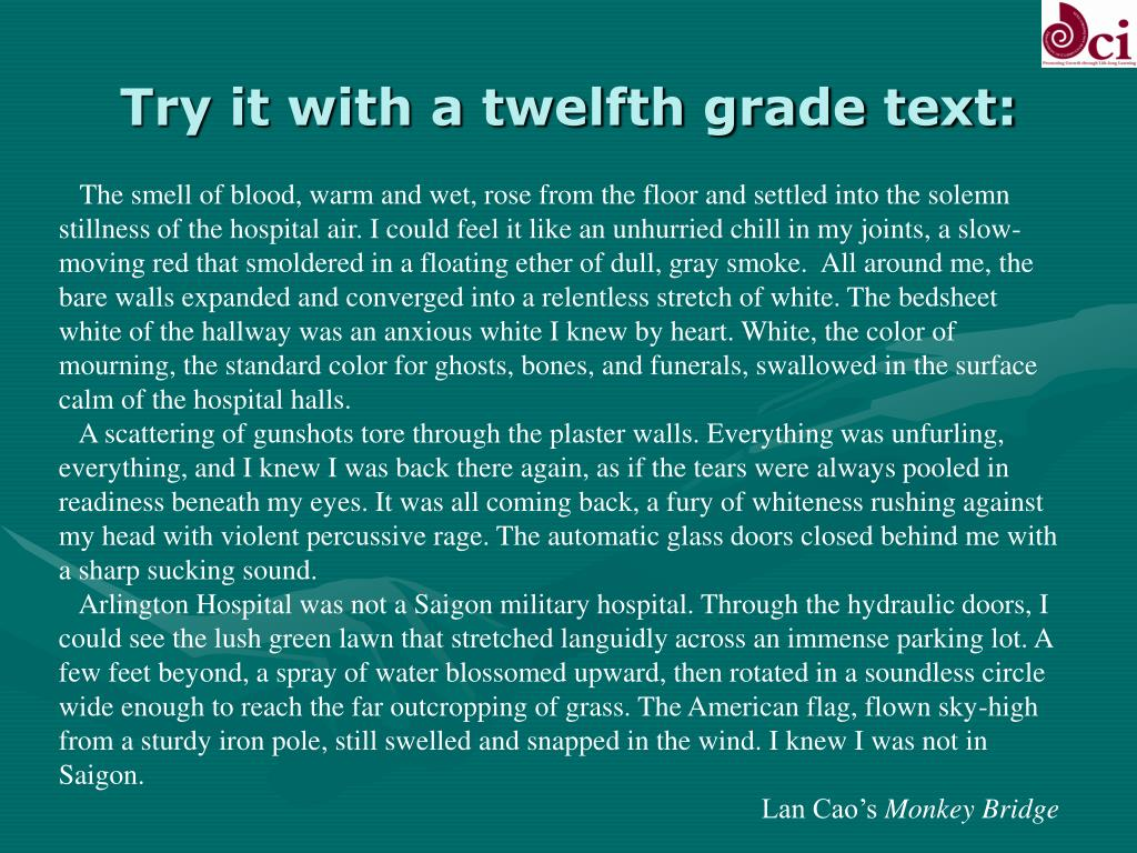 Try it with a twelfth grade text: