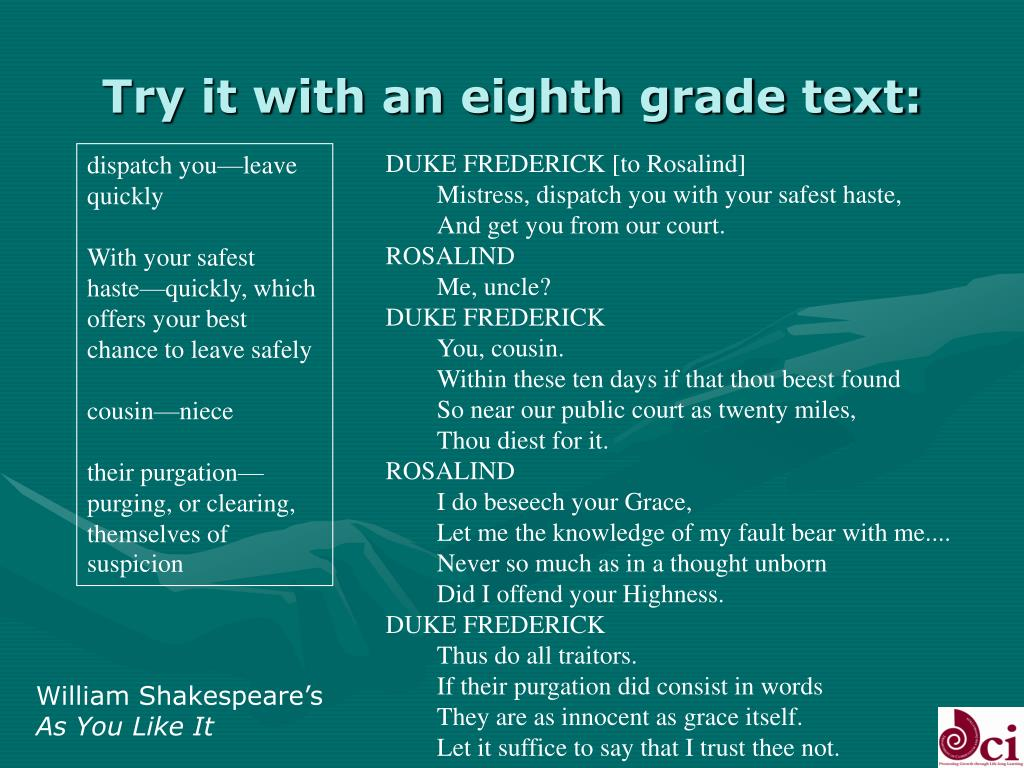 Try it with an eighth grade text: