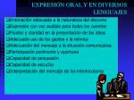expresi n oral y en diversos lenguajes