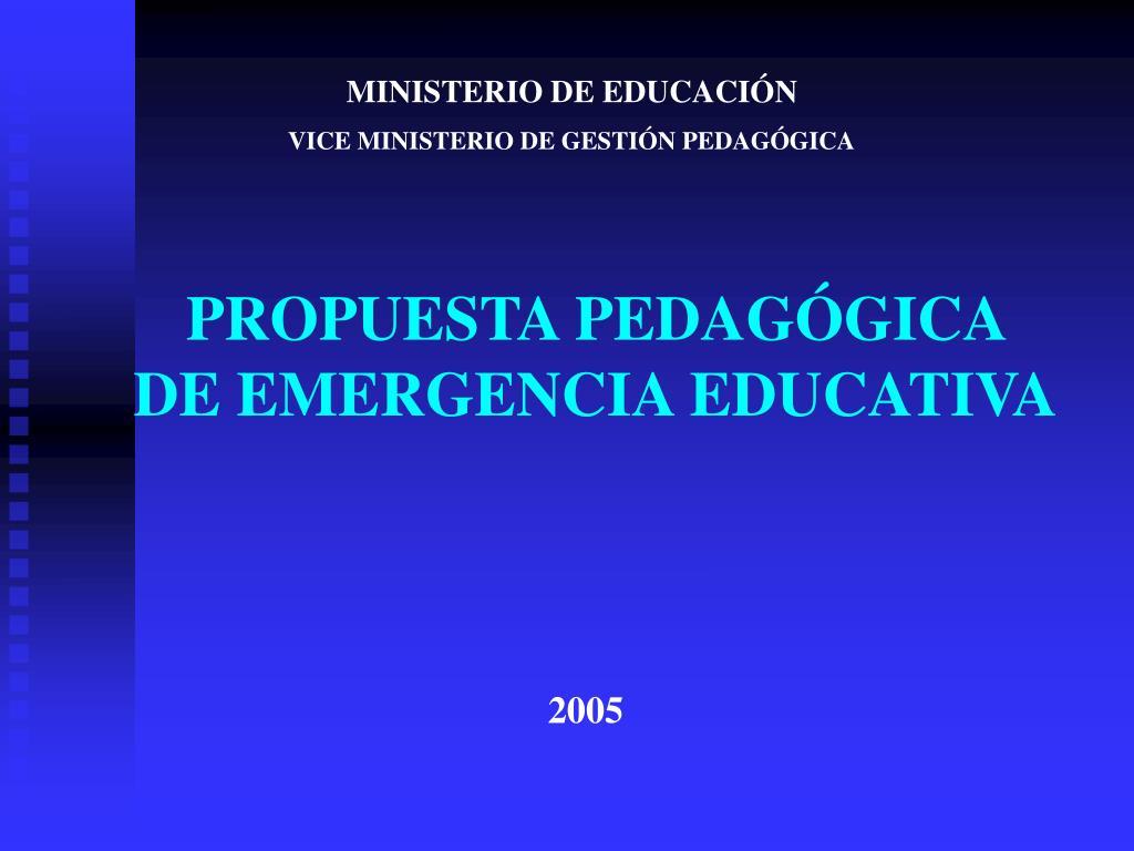 propuesta pedag gica de emergencia educativa l.