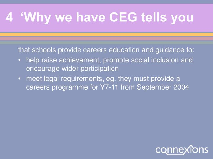 4  'Why we have CEG tells you