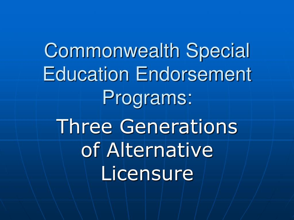 commonwealth special education endorsement programs l.