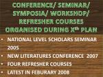 conference seminar symposia workshop refresher courses organised during x th plan