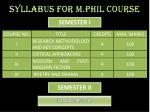 syllabus for m phil course