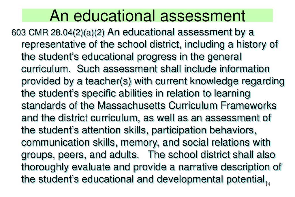 An educational assessment