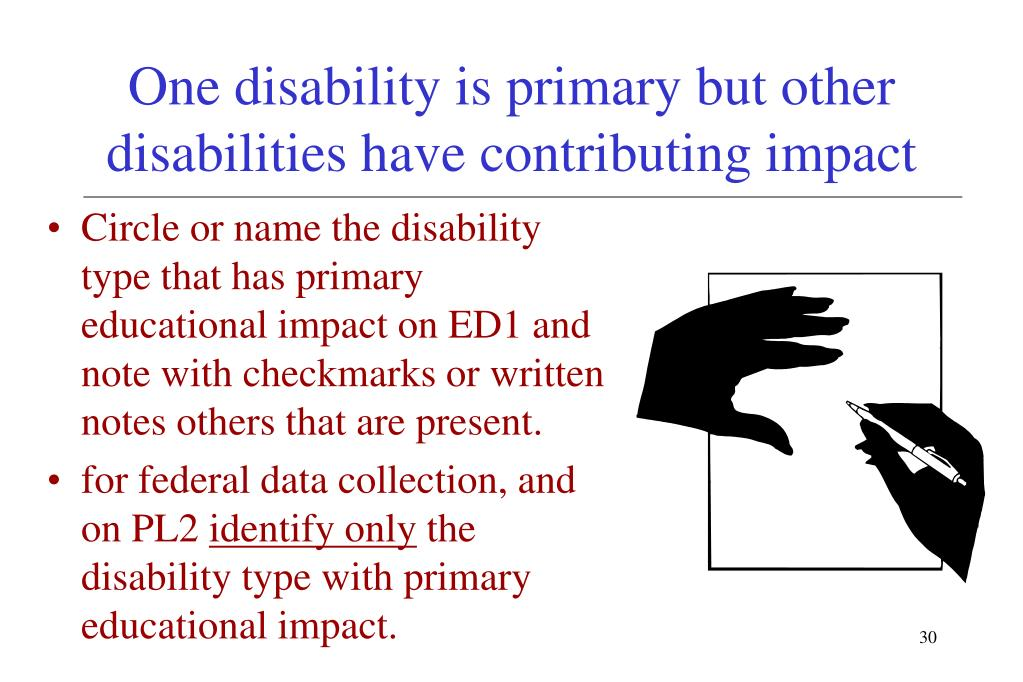One disability is primary but other disabilities have contributing impact