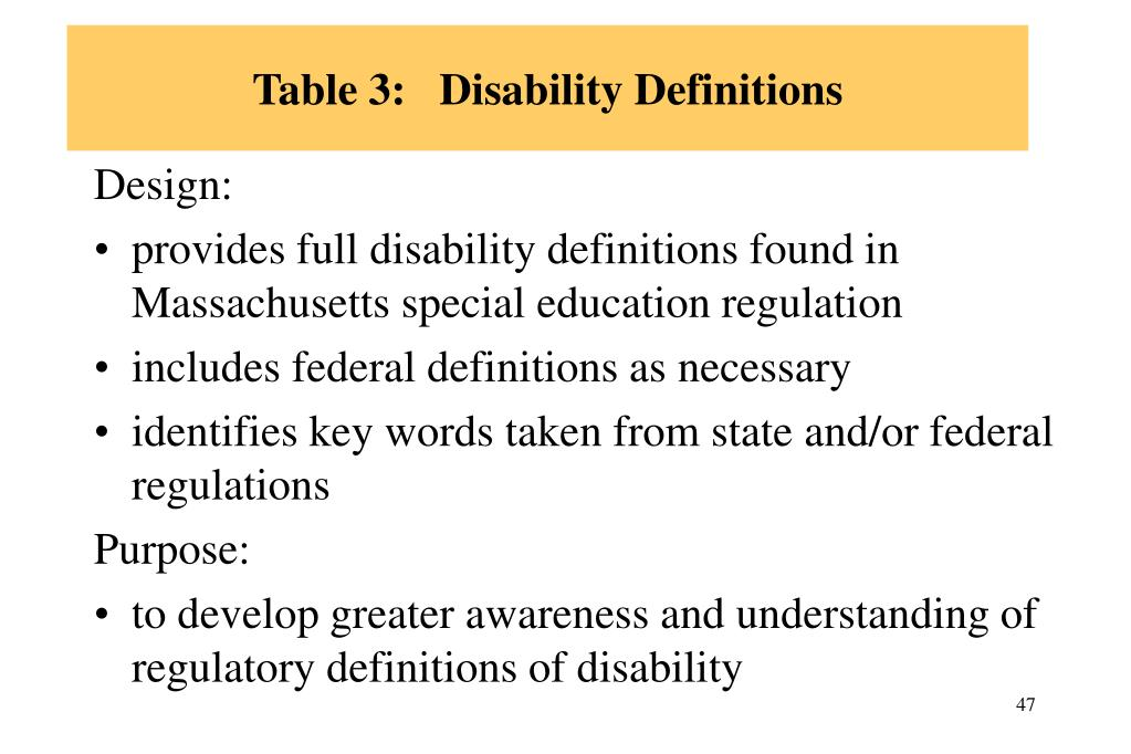 Table 3:   Disability Definitions