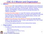 cac g 3 mission and organization