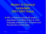 modern classical languages 2001 2002 status