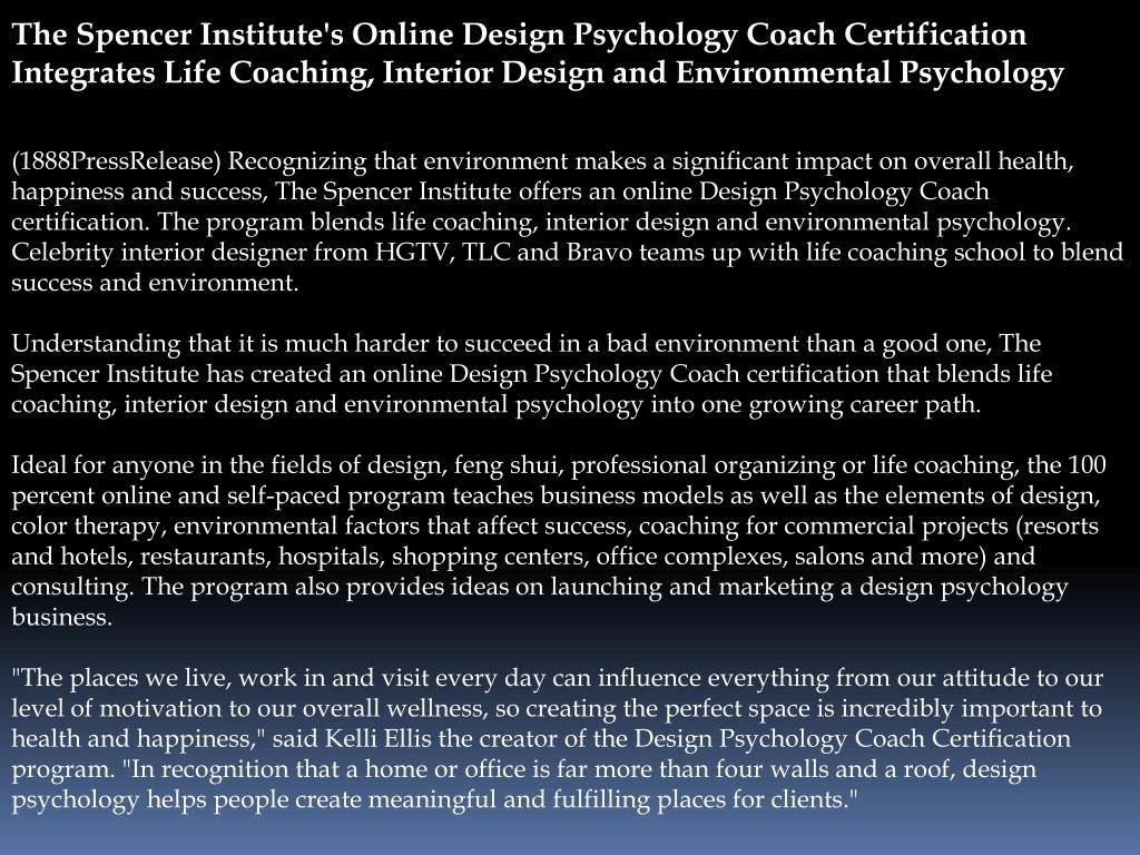 Ppt The Spencer Institute S Online Design Psychology Coach Certi Powerpoint Presentation Id 184558
