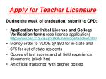 apply for teacher licensure