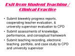 exit from student teaching clinical practice