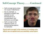 self concept theory continued