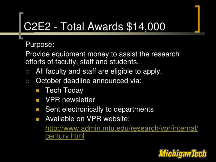 C2E2 - Total Awards $14,000