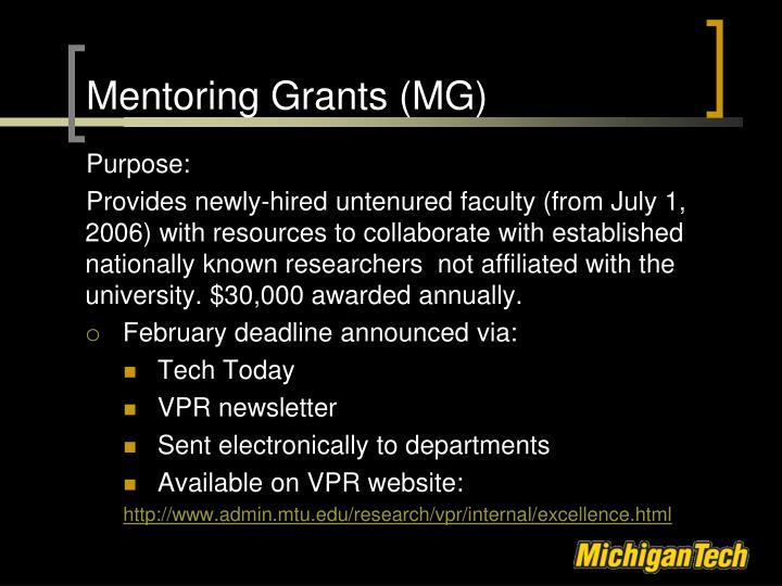 Mentoring Grants (MG)