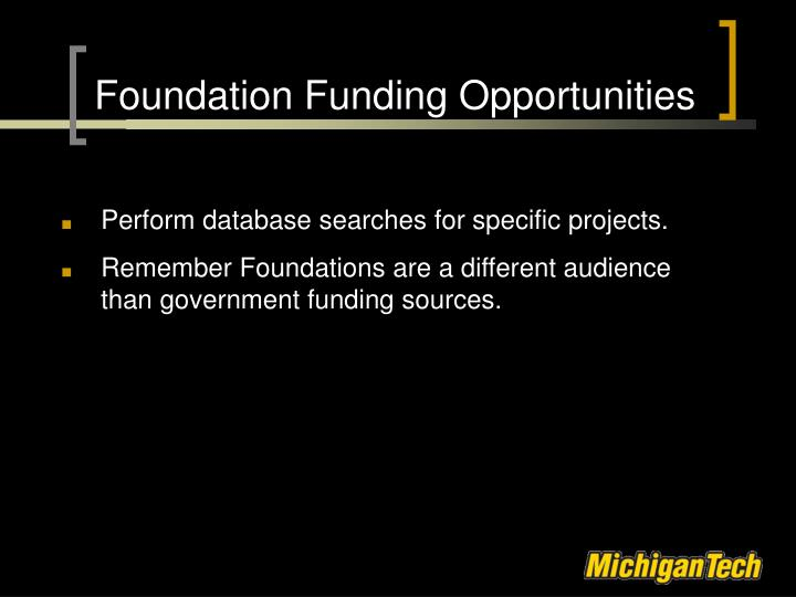 Foundation Funding Opportunities