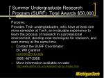 summer undergraduate research program surf total awards 50 000