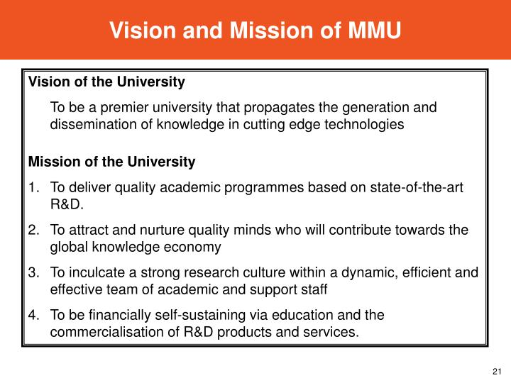 Vision and Mission of MMU