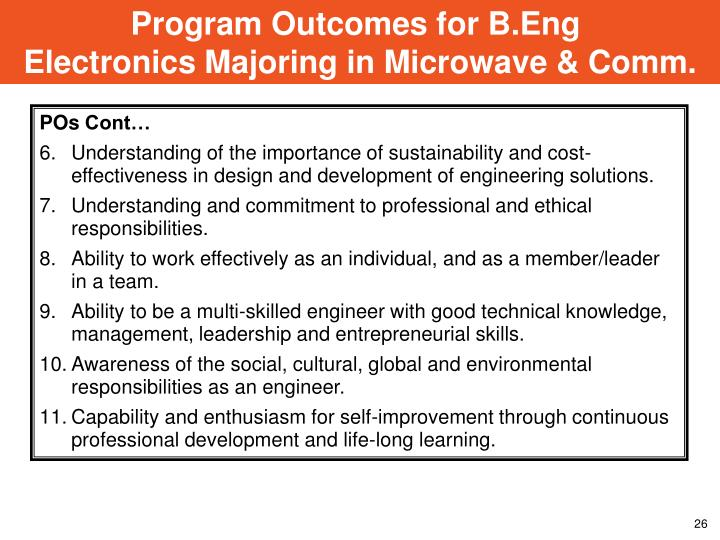 Program Outcomes for B.Eng