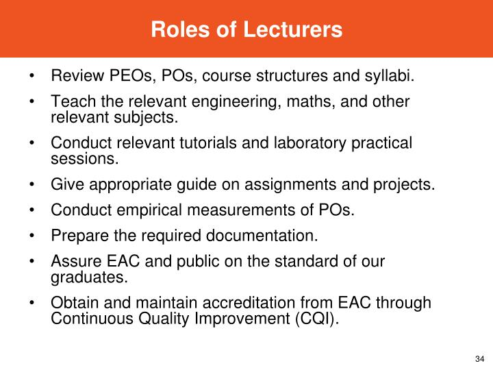Roles of Lecturers