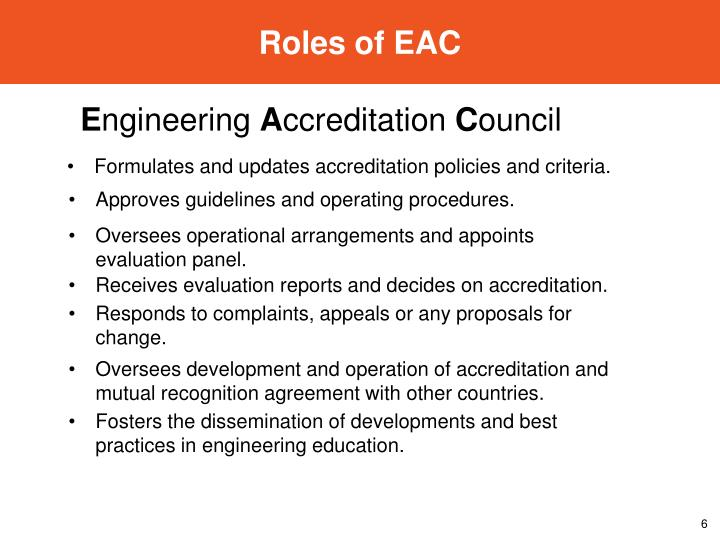 Roles of EAC