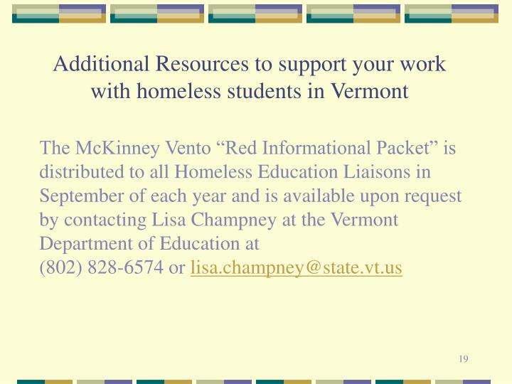 Additional Resources to support your work with homeless students in Vermont