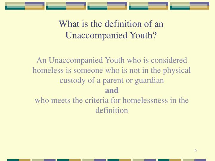 What is the definition of an Unaccompanied Youth?