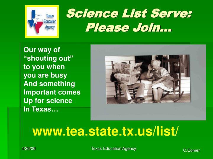 Science List Serve: