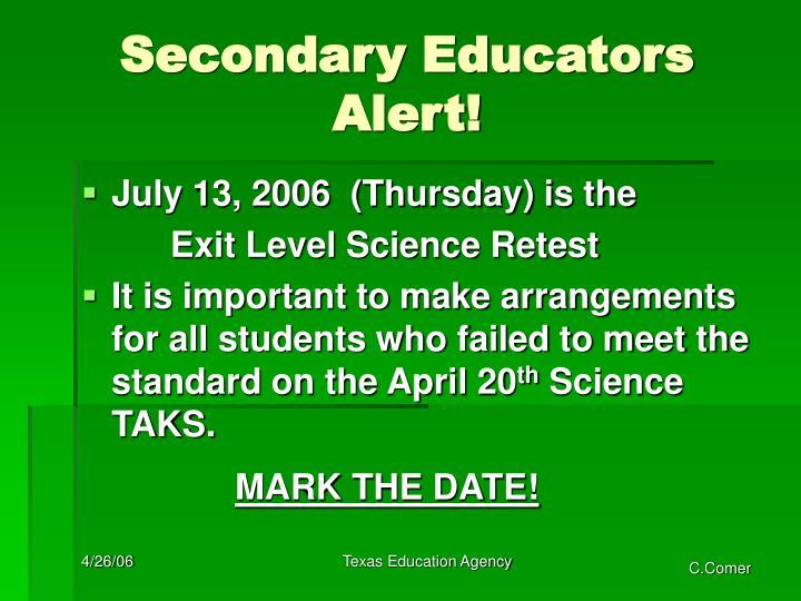 Secondary Educators Alert!