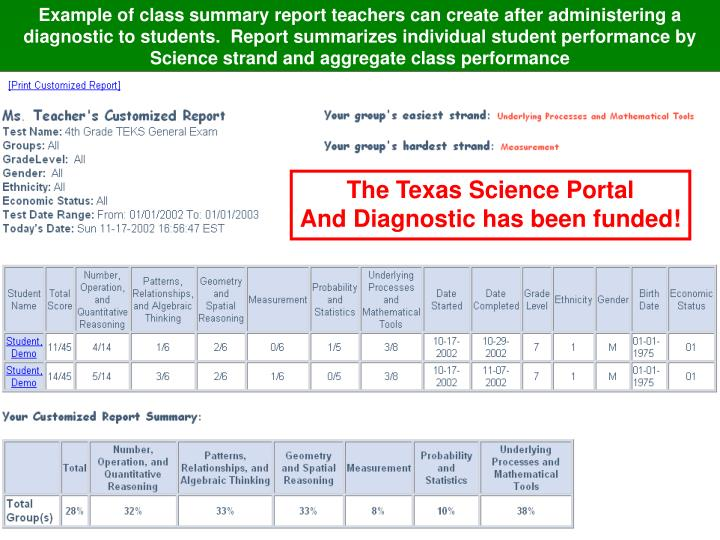 Example of class summary report teachers can create after administering a diagnostic to students.  Report summarizes individual student performance by Science strand and aggregate class performance