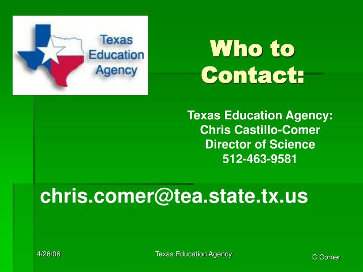 Who to Contact:
