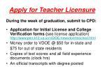 apply for teacher licensure