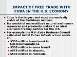 impact of free trade with cuba in the u s economy