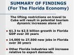summary of findings for the florida economy