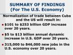 summary of findings for the u s economy