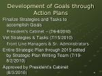 development of goals through action plans