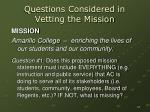 questions considered in vetting the mission