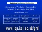 department of psychology research day applying science to the real world