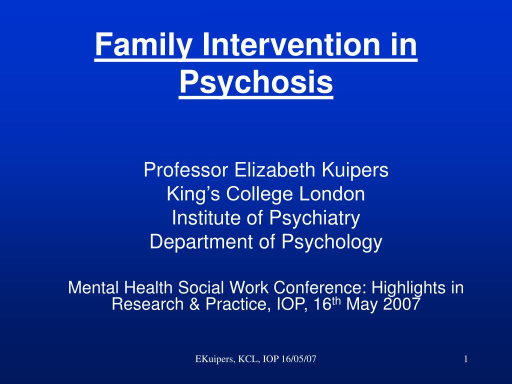 family intervention in psychosis l.