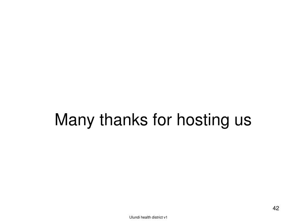 Many thanks for hosting us