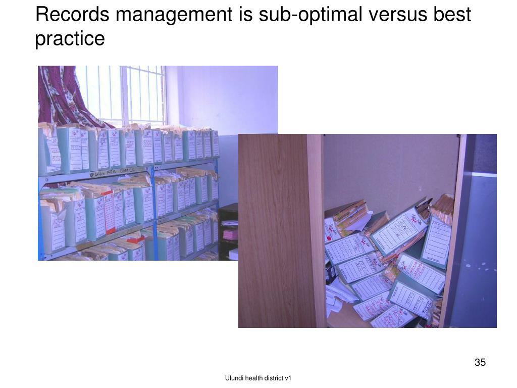 Records management is sub-optimal versus best practice