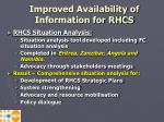 improved availability of information for rhcs
