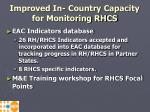 improved in country capacity for monitoring rhcs