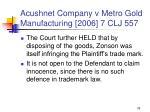 acushnet company v metro gold manufacturing 2006 7 clj 55779