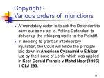 copyright various orders of injunctions