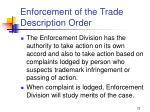 enforcement of the trade description order