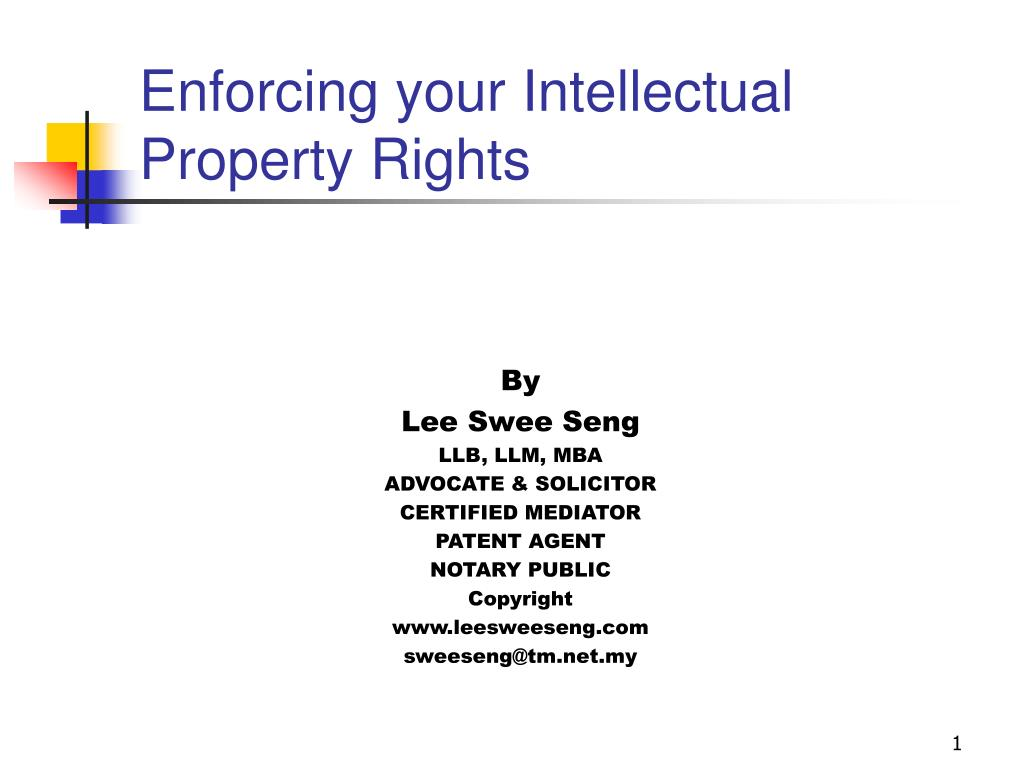 enforcing your intellectual property rights l.
