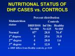 nutritional status of dhf cases vs controls