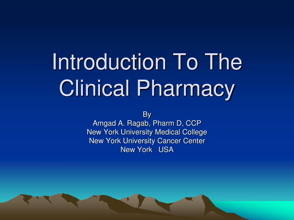 introduction to the clinical pharmacy l.